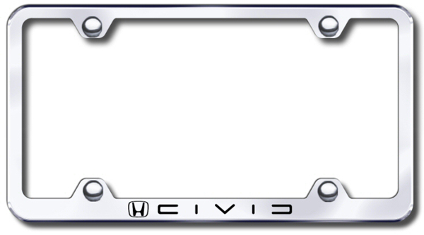 Honda Civic Laser Etched Stainless Steel Wide License Plate Frame