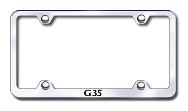 Infiniti G35 Laser Etched Stainless Steel Wide License Plate Frame