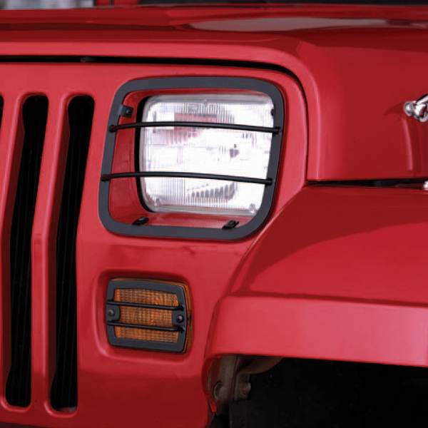 Jeep Wrangler Black Front Headlight and Turn Signal Guards 1987-1995
