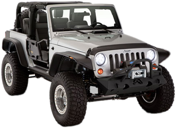 Jeep Wrangler JK 2-Door Bushwacker Flat Style Fender Flare Kit 2007-2013