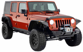 Jeep Wrangler JK 4-Door Bushwacker Flat Style Fender Flare Kit (2007-2013)