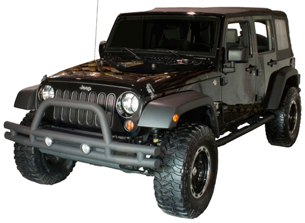 Jeep Wrangler JK Front Textured Black Tube Bumper With Grill Guard 2007 2014