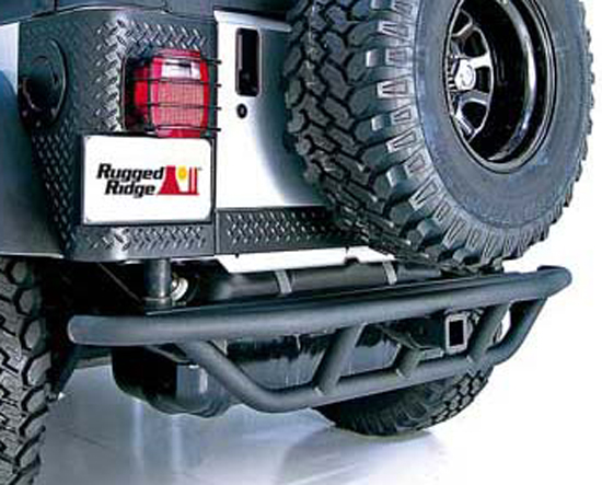 Jeep Wrangler & Unlimited Black Textured Rear Bumper With Hitch 1987-2006