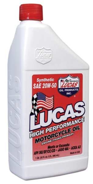 Lucas High Performance 20W50 Synthetic Motorcycle Oil 1 Qt.
