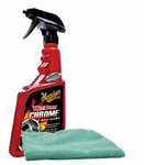 Meguiar's Hot Rims Chrome Wheel Cleaner (24 oz.), Microfiber Cloth Kit