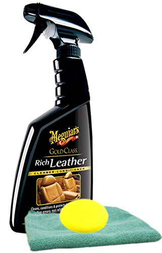 Meguiars Gold Class Rich Leather Spray 16 oz. Microfiber Cloth & Foam Pad Kit
