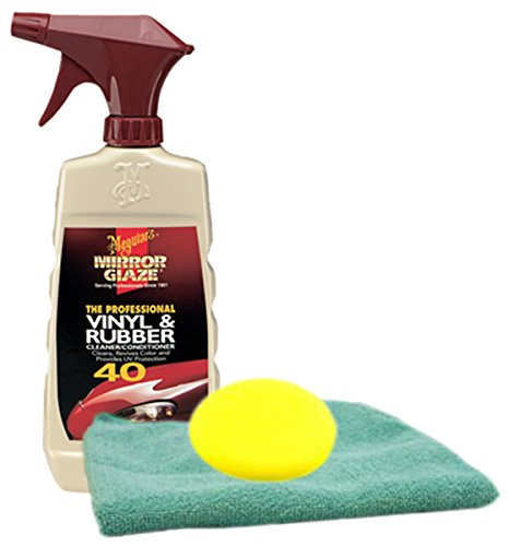 Meguiars Professional Vinyl & Rubber Cleaner 16 oz. Microfiber Cloth & Foam Pad Kit