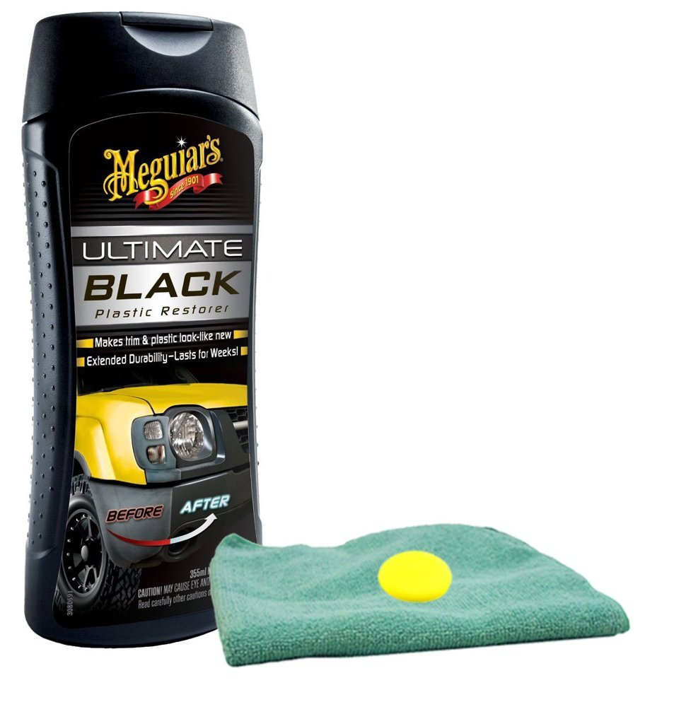 Meguiars Ultimate Black Plastic Restorer Microfiber Cloth & Foam Pad Kit