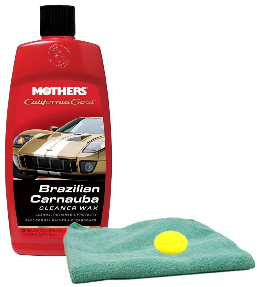 Mothers California Gold Brazilian Carnauba Cleaner Wax Microfiber Cloth & Foam Pad Kit