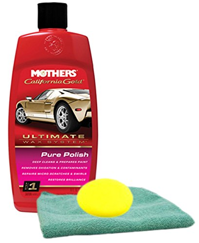 Mothers California Gold Pure Polish Pre Wax Cleaner 16 oz Microfiber Cloth & Foam Pad Kit