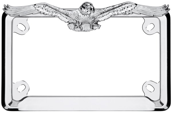 motorcycle chrome eagle license plate frame