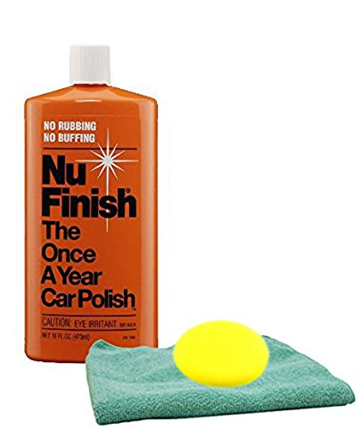 Nu Finish Once-A-Year Car Polish 16 oz Microfiber Cloth & Foam Pad Kit