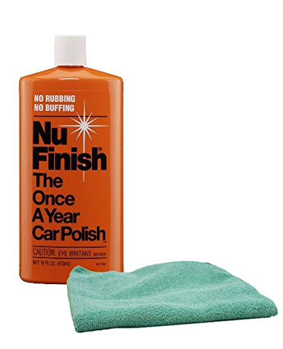 Nu Finish Once-A-Year Car Polish 16 oz & Microfiber Cloth Kit