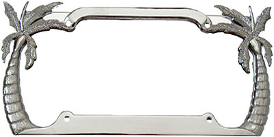palm tree chrome plated license plate frame