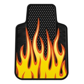 Yellow Flames Rubber Car Floor Mats Pair