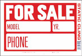 """Red & White Static Cling For Sale Sign (8"""" x 12"""")"""