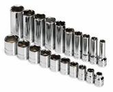 "SK Tool 20 Piece 3/8"" Drive 6 Point Standard, Deep And Extra Long Deep Fractional Socket Set"