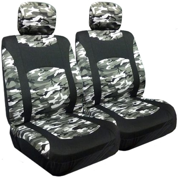 Snow Camouflage Low Back Bucket Airbag Seat Cover Pair