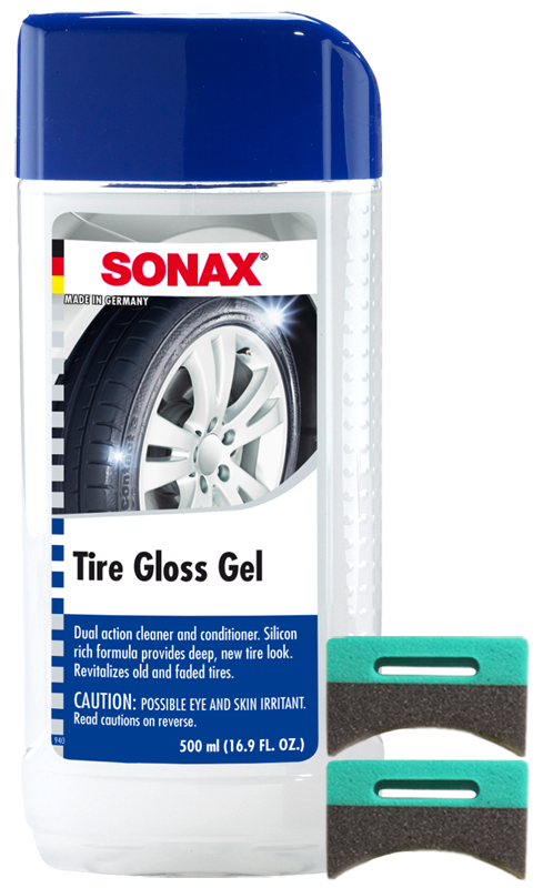 Sonax Revitalizing Tire Gloss Gel 16.9 oz & Applicator Pads Kit