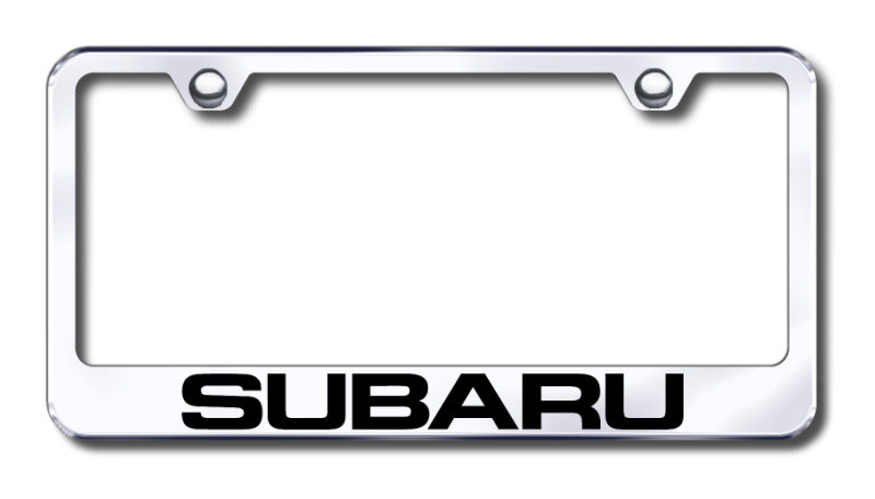 subaru laser etched stainless steel license plate frame