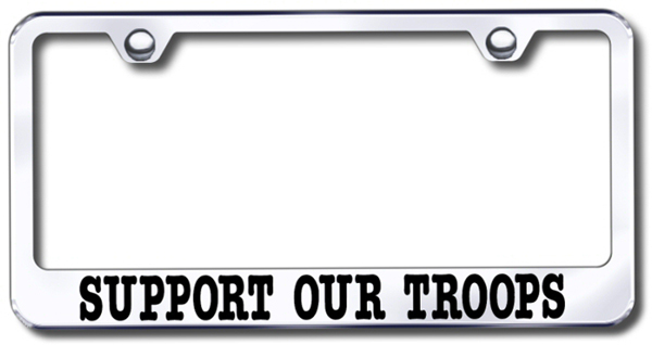 support our troops laser etched stainless steel license plate frame