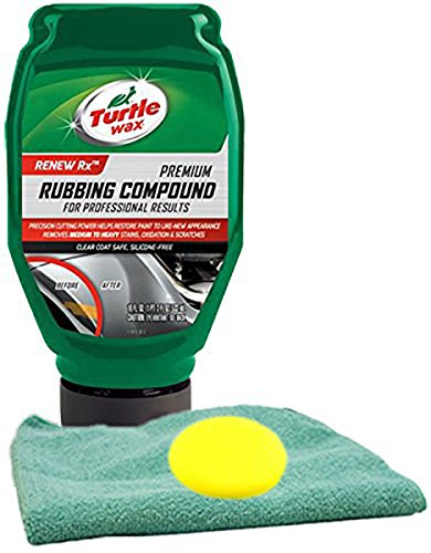 Turtle Wax Premium Rubbing Compound 18 oz Microfiber Cloth & Foam Pad Kit