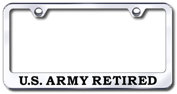 us army retired laser etched stainless steel license plate frame