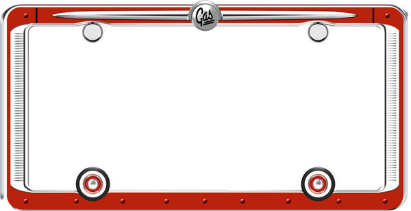 Vintage Red Chrome License Plate Frame