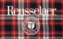 Boxercraft Plaid Flannel Blanket with Rensselaer & School Seal