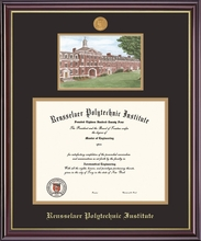 Diploma Frame - Windsor with Quad Arch Lithograph and Medallion