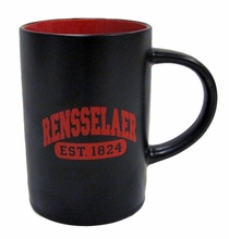 Large Two Tone Coffee Mug with Rensselaer Est 1824