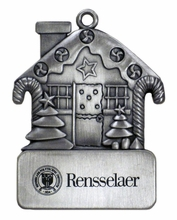 Pewter Gingerbread House Ornament with Engraved Rensselaer