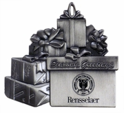 Pewter Pile Of Presents Ornament with Engraved Rensselaer