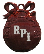 Pewter Red Christmas Bulb Ornament with Engraved RPI