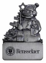 Pewter Snowman Ornament with Engraved Rensselaer