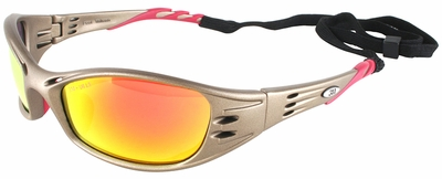 3M Fuel Safety Glasses with Metallic Sand Frame and Red Mirror Lens