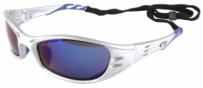 3M Fuel Safety Glasses with Silver Frame and Blue Mirror Lens
