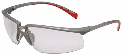 3M Privo Safety Glasses with Silver/Red Frame and Clear Anti-Fog Lens