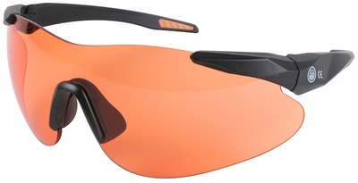 Beretta Shooting Glasses with Black SoftTouch Temples and Orange Lens