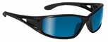 Bolle Lowrider Safety Glasses with Shiny Black Frame and Blue Mirror Lenses
