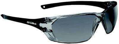 Bolle Prism Safety Glasses with Shiny Black Frame and Smoke Anti-Scratch and Anti-Fog Lens