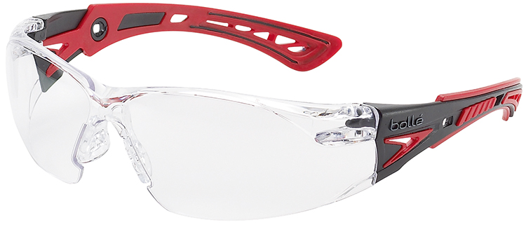 Bolle Rush Plus Safety Glasses with Black/Red Temples and Clear Anti-Fog Lens