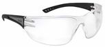 Bolle Slam Safety Glasses with Black Reflective Temple and Clear Anti-Scratch and Anti-Fog Lens