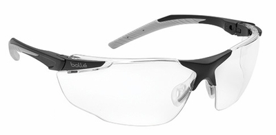 Bolle Universal Safety Glasses with Black and Gray Temples and Clear Anti-Scratch and Anti-Fog Lens
