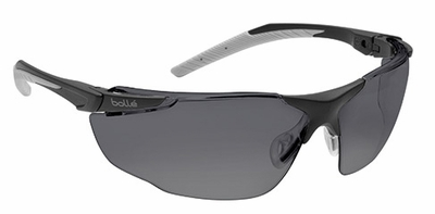 Bolle Universal Safety Glasses with Black and Gray Temples and Smoke Anti-Scratch and Anti-Fog Lens