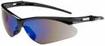 Bouton Anser Safety Glasses with Black Frame and Blue Mirror Lens