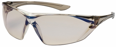 Bouton Bullseye Safety Glasses with Brown Temple and Indoor/Outdoor Blue Anti-Fog Lens
