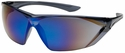 Bouton Bullseye Safety Glasses with Gray Temple and Blue Mirror Anti-Fog Lens
