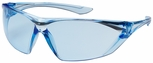 Bouton Bullseye Safety Glasses with Light Blue Temple and Light Blue Anti-Fog Lens
