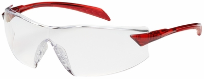 Bouton Radar Safety Glasses with Red Temple and Clear Anti-Reflective Lens